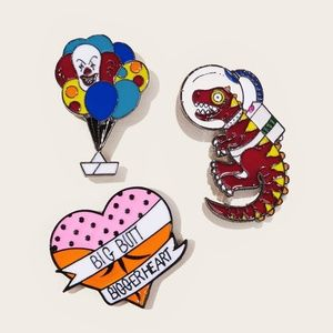 3 Pc Crazy & Fun Enameled Brooch Set